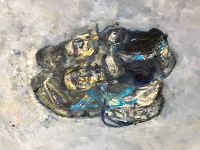 Trainers, oil on paper, 70x70 cm