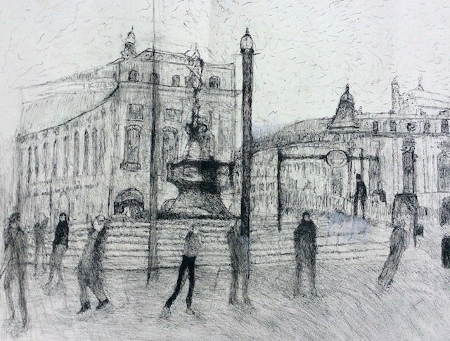 detailed drawing of Piccadilly Circus