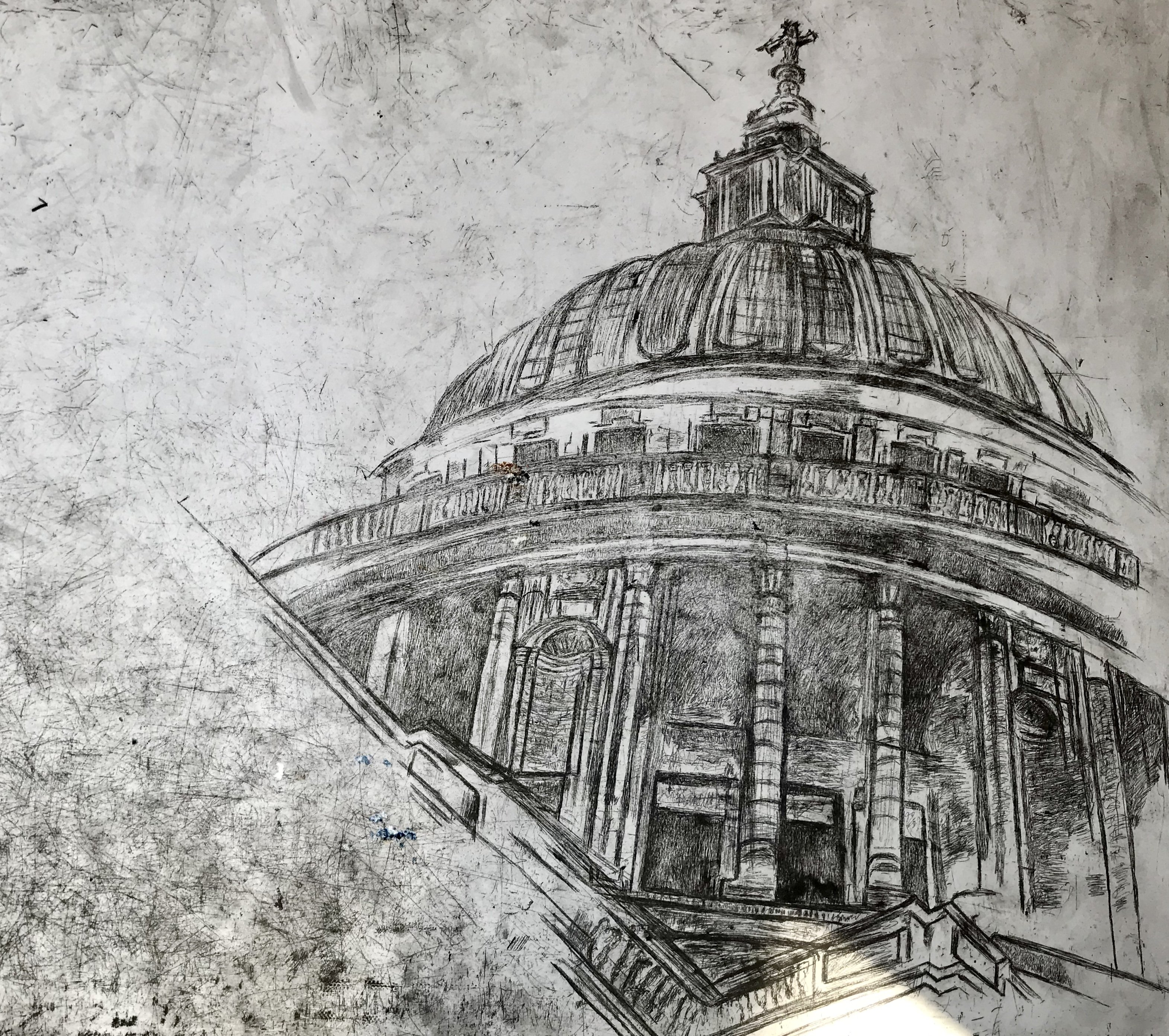etching of St Paul's Cathedral