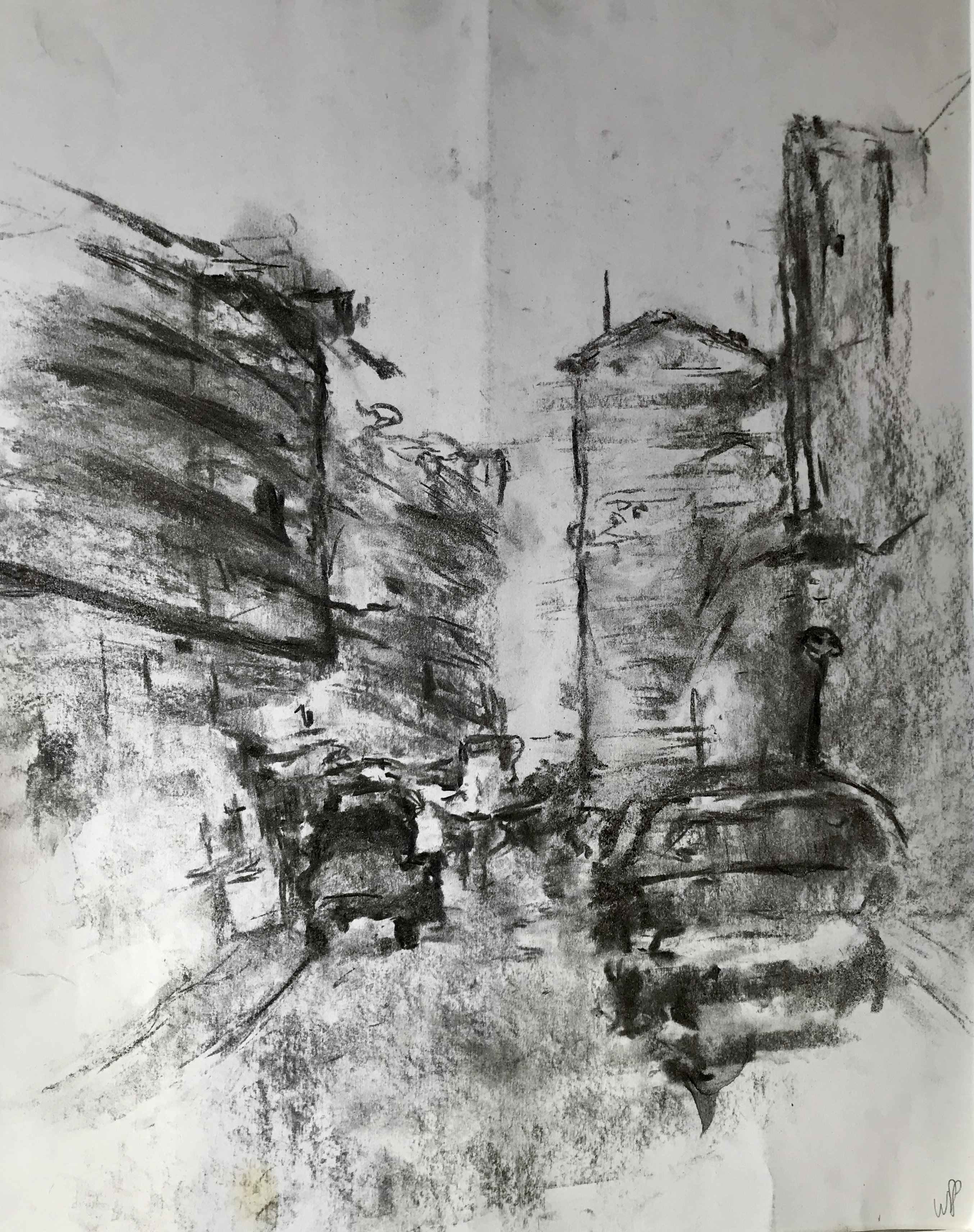 Traffic in Larnaca, charcoal on paper, 33x50 cm