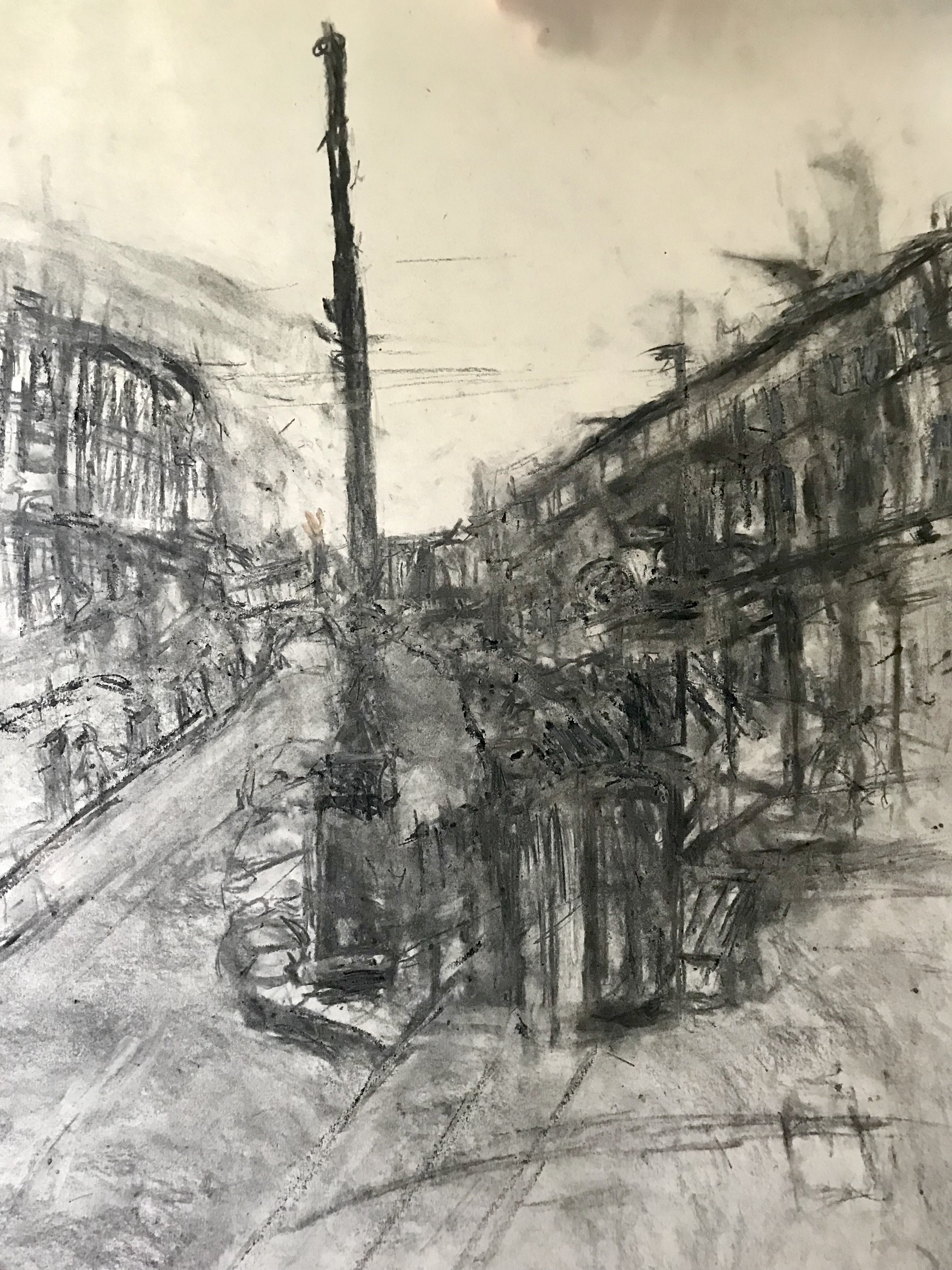 5. The High Street, Tunbridge Wells conte crayon, charcoal and chalk, 42x59.5 cm