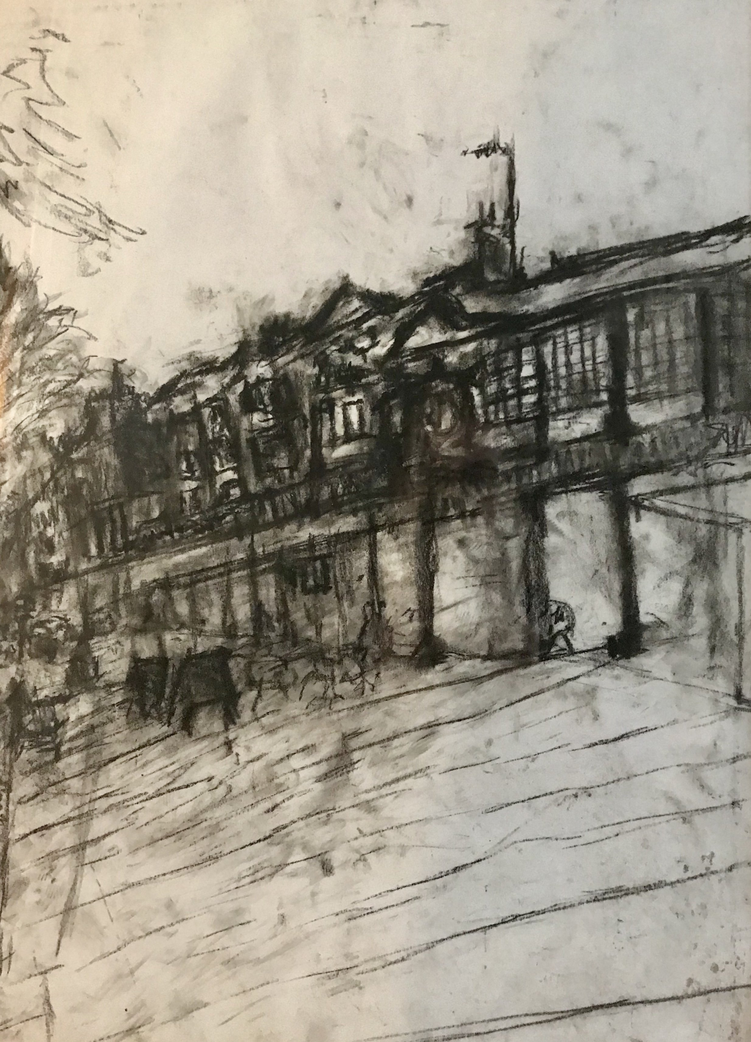 9. The Pantiles, conte crayon on paper, 56x72 cm (framed)