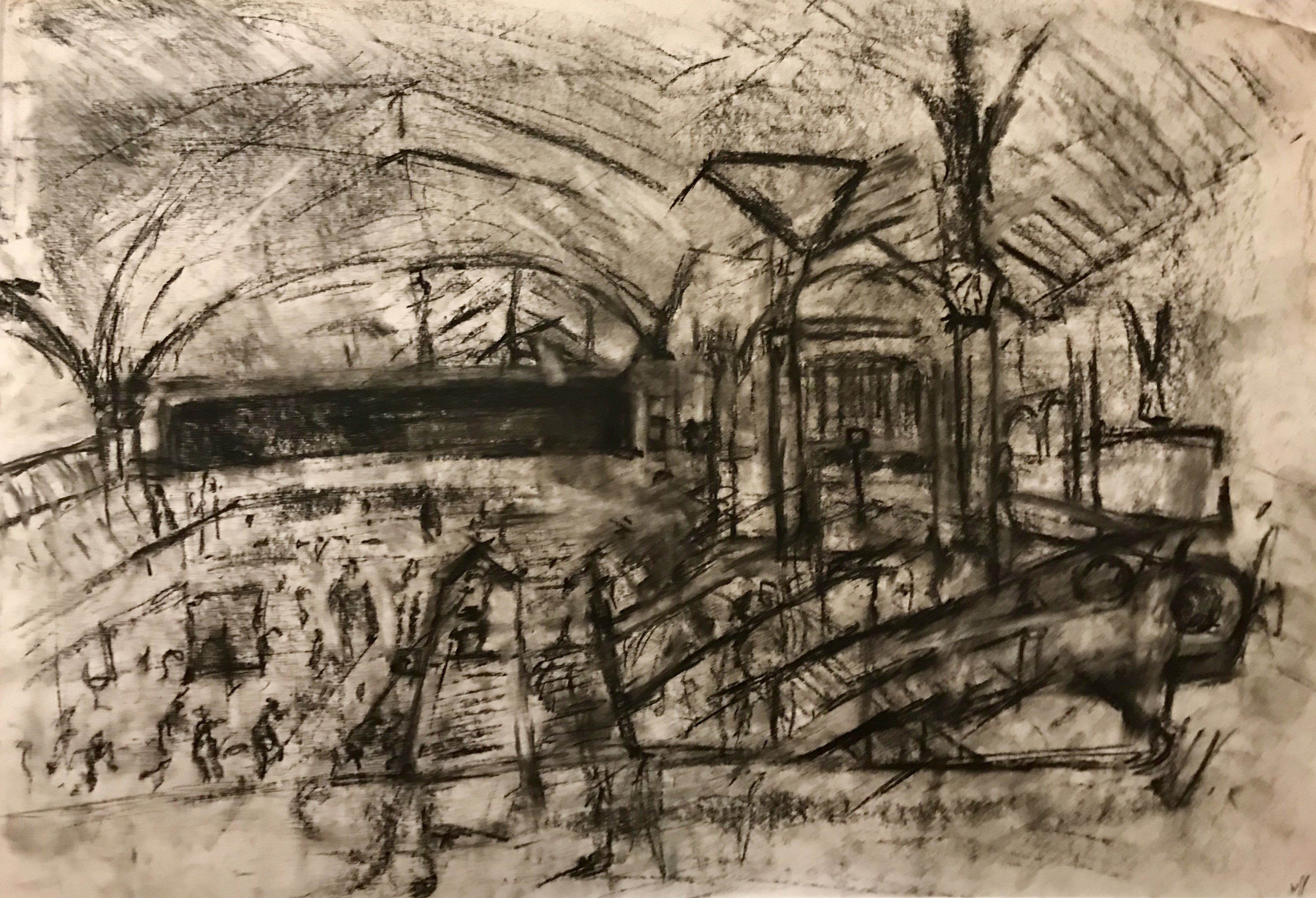 charcoal drawing of Liverpool Street Station