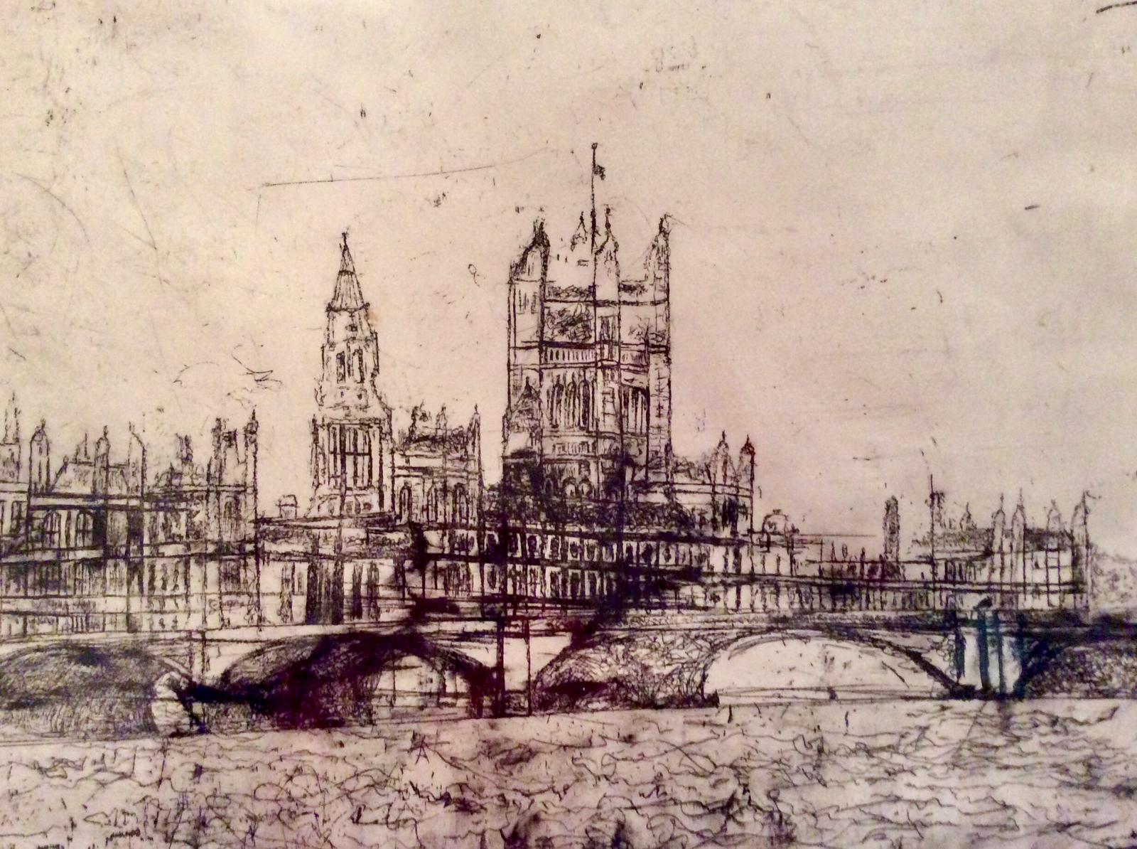Parliament Overlooking Thames, Etching,